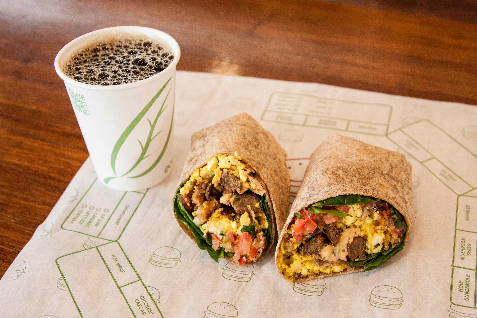 Plant Power Fast Food in Encinitas Ca Breakfast Burrito & Coffee